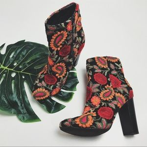 Boho Floral Embroidered Booties